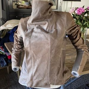 RICK OWENS leather moto jacket lined taupe ITALY